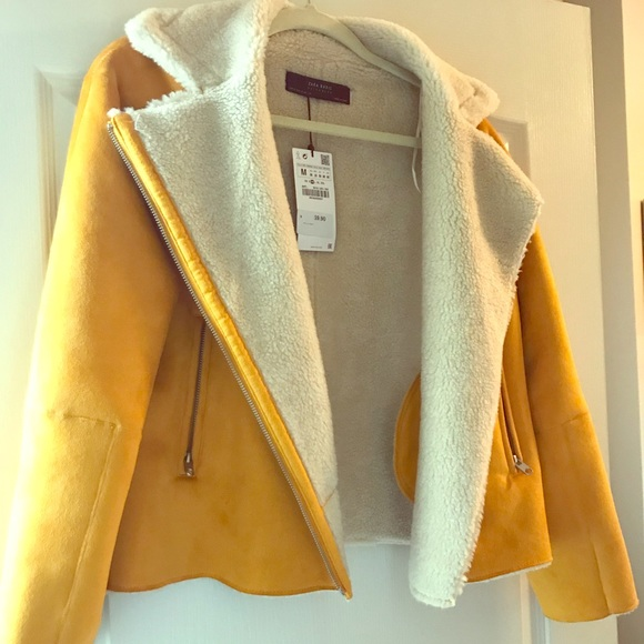 594dcafa Zara Jackets & Coats | Yellow Shearling Moto Jacket | Poshmark